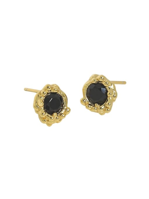 18K gold [with pure Tremella plug] 925 Sterling Silver Cubic Zirconia Geometric Hip Hop Stud Earring